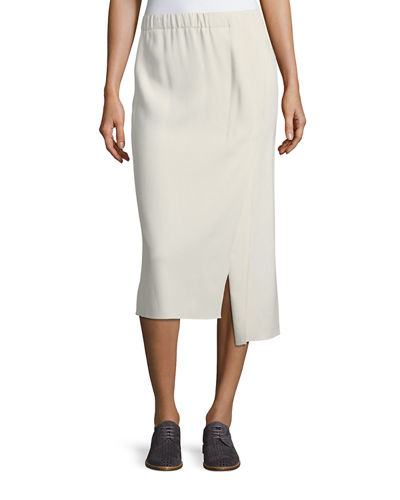 Asymmetric Wool-Blend Midi Skirt