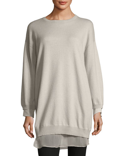 Cashmere Chiffon-Trim Long Sweater