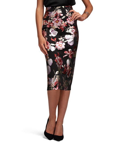 Foil-Print Stretch Midi Skirt