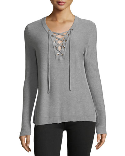 Silk-Cashmere Lace-Up Tunic