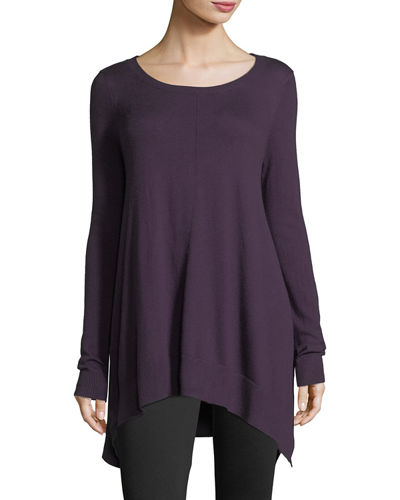 Scoop-Neck Draped Pullover Sweater