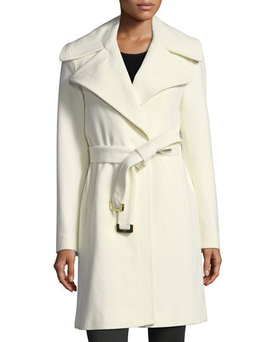 Core Wool-Blend Belted Wrap Coat