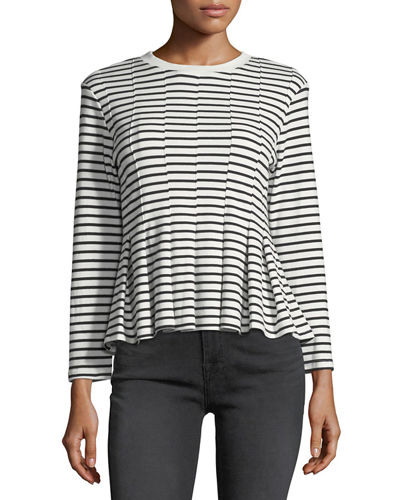 Striped Knit Long Sleeve Top w/ Pleated Hem