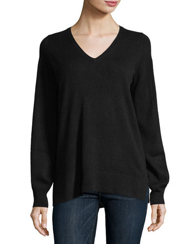 Cashmere Blouson-Sleeve Sweater