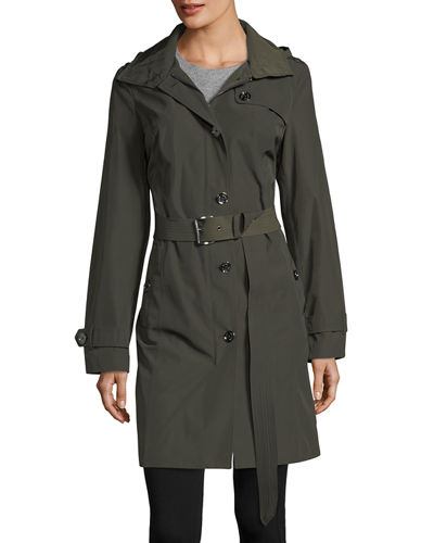 Belted Hooded Long Rain Coat