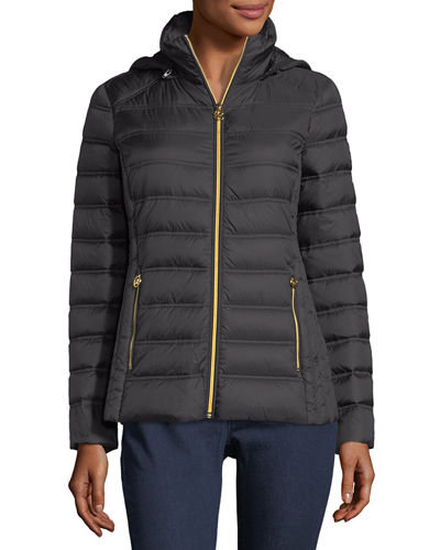 Packable Removable-Hood Puffer Jacket