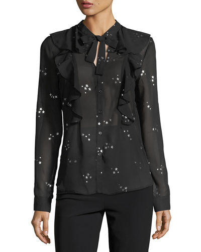 Chiffon Metallic Star-Print Blouse