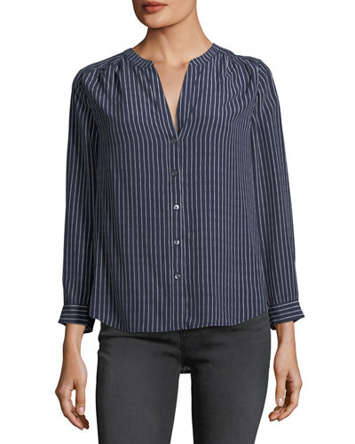Kira Striped Silk Blouse