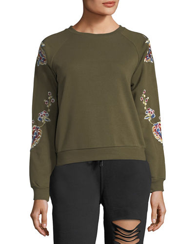 Floral-Embroidered Sweatshirt