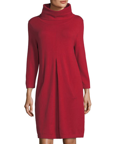 Kim Cowl-Neck Long-Sleeve Dress