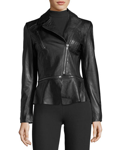 Removable-Peplum Leather Biker Jacket