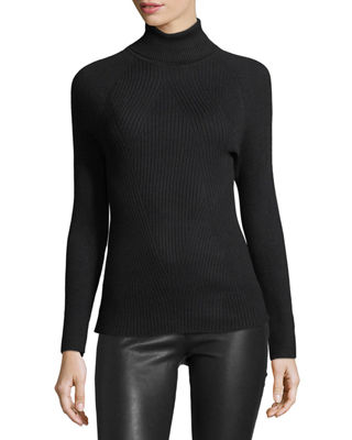 Ribbed Turtleneck Sweater W/ Laced Sleeves by Metric Knits