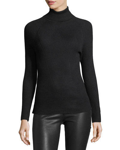 Ribbed Turtleneck Sweater w/ Laced Sleeves