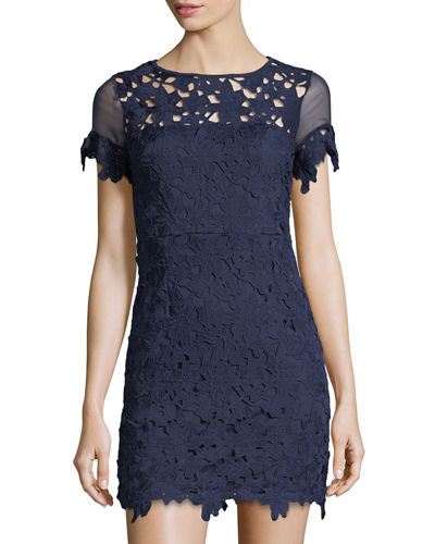 Floral-Lace Short-Sleeve Dress