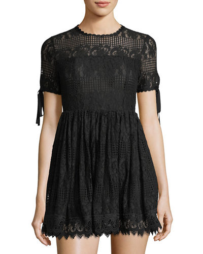 Illusion-Yoke Lace Fit & Flare Dress