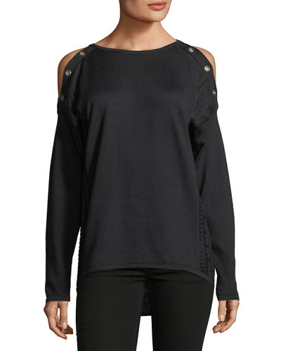 Long-Sleeve Cold-Shoulder Grommet Tee