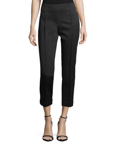 Textured Stretch Skinny Pull-On Ankle Pants