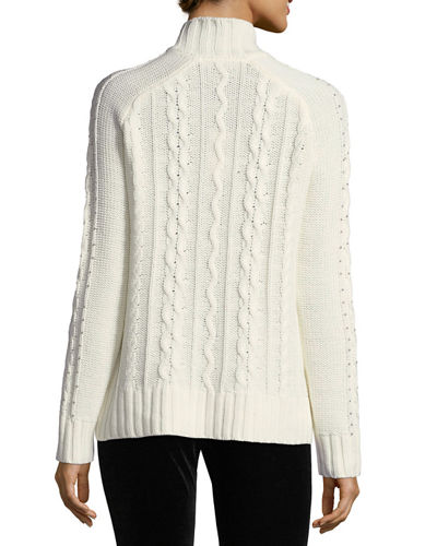 Beaded Mock-Neck Sweater