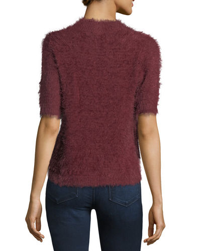 Fuzzy Short-Sleeve Pullover Sweater