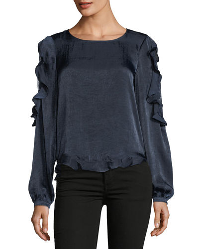Satin Blouse with Lace Peek-a-Boo Detail
