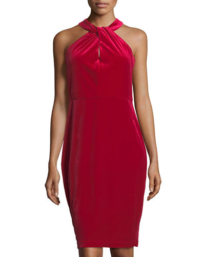 Halter-Neck Velvet Sheath Dress