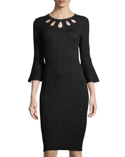 Cutout-Neck Knit Dress