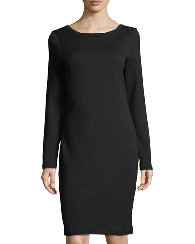 Scoop-Back Long-Sleeve Skinny Dress
