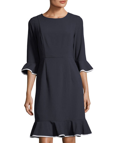 Stretch-Crepe Flounce-Trim Dress