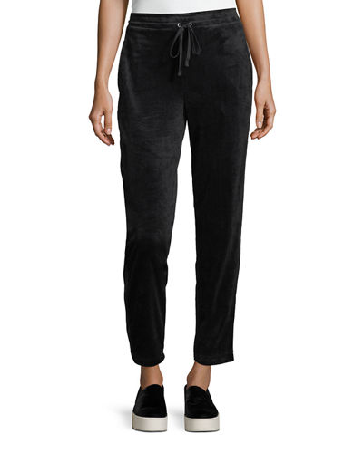 Straight-Leg Velour Jogger Pants
