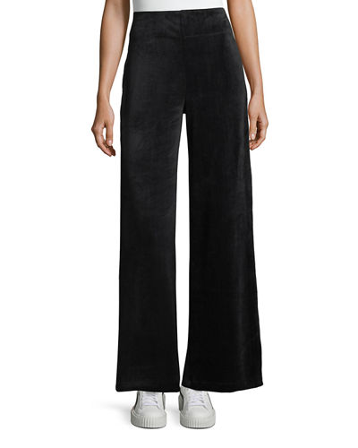 Velour Bell-Bottom Pants