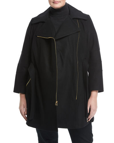 Asymmetric Wool-Blend Topper Coat, Plus Size