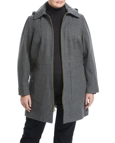 Zip-Front A-Line Wool-Blend Coat