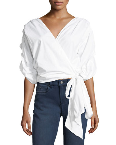 Bubble-Sleeve Belted Poplin Wrap Shirt