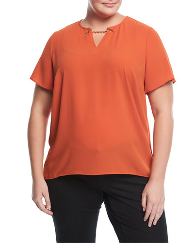 High-Low Chain-Detail Top, Plus Size