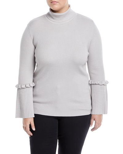 Ribbed Turtleneck Bell-Sleeve Sweater