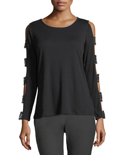 Ladder-Sleeve Scoop-Neck Tee