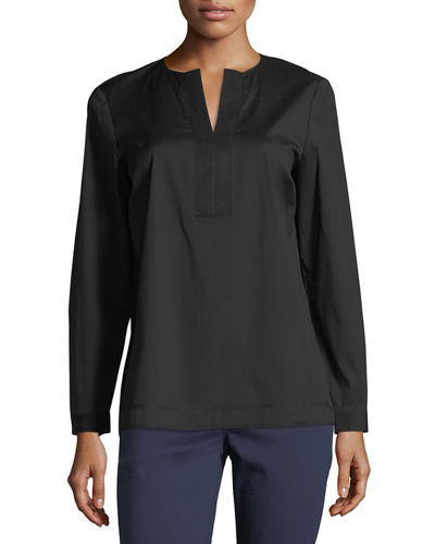 Payton Grosgrain-Trim Blouse