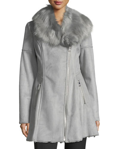 Fit-and-Flare Faux-Shearling Coat