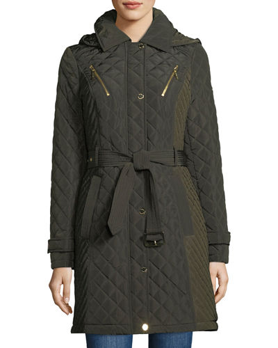 Quilted Pea Coat w/ Belt & Hood