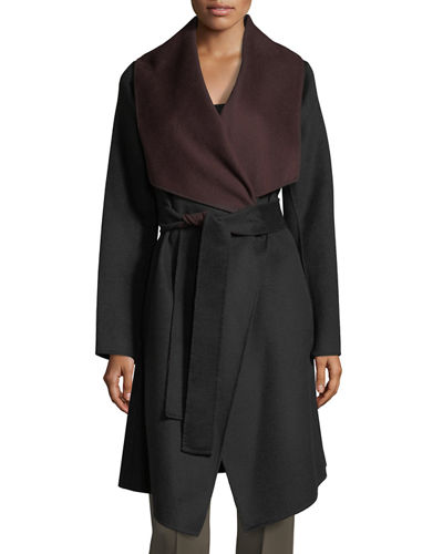 Two-Tone Reversible Wool-Blend Wrap Coat