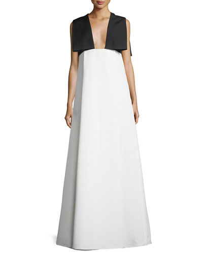 Cape-Detail Colorblock Woven Gown