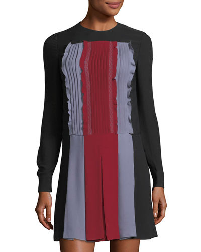 Long-Sleeve Pleat-Front Colorblock Dress