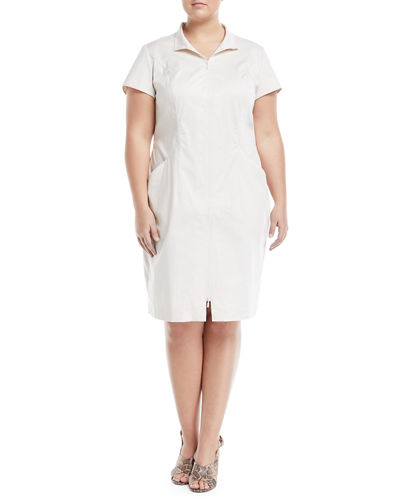 Camber Zip-Front Sheath Dress, Plus Size