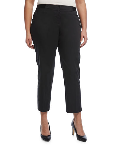 Slim-Leg Cotton-Blend Ankle Pants, Plus Size