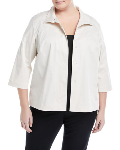Hara Hidden-Snap Topper Jacket, Plus Size