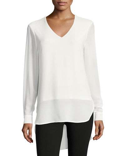 Cuffed-Sleeves Long Blouse