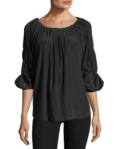 Pleated Scoop-Neck Blouse