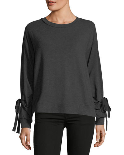 Self-Tie Long-Sleeve Grommet Sweatshirt