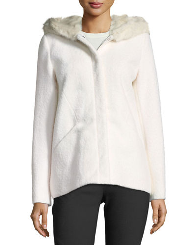 Short Wool Boucle Top Coat w/ Faux-Fur Hood