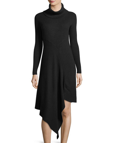 Handkerchief-Hem Turtleneck Sweater Dress